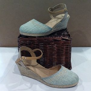 White Mountain Teal and Gold Wedges